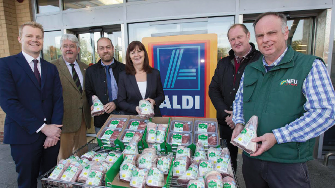 (L-R): Aldi's Buying Director, Will Barstow; FUW Managing Director Alan Davies; FUW Glamorgan County Chairman Ritchie Walker; Environment and Rural Affairs Cabinet Secretary Lesley Griffiths; NFU Cymru's Jonathan Huntley and Wyn Evans